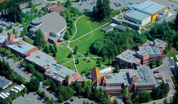 Aerial view of UFV Abbotsford campus
