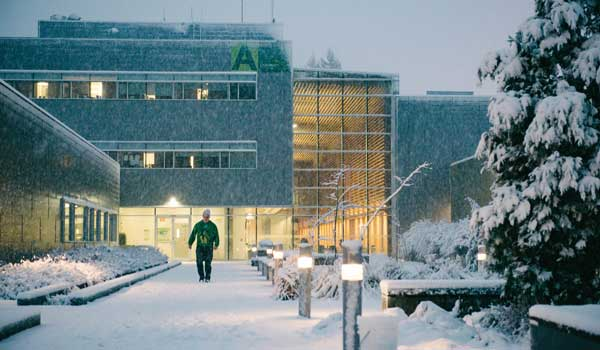 UFV Chilliwack Campus at Canada Education Park on a snowy day