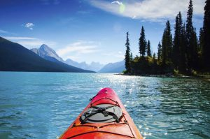 Kayak in a beautiful lake in British Columbia, Canada