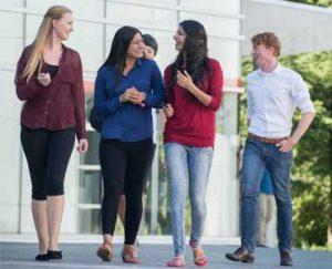 Students walking and talking at the UFV Abbotsford campus.